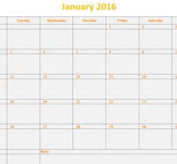 Excel Calendar Template by 2016 Monthly Calendar Template My Excel Templates