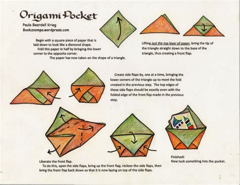 Origami Pockets - how to make an origami phlet playful bookbinding and