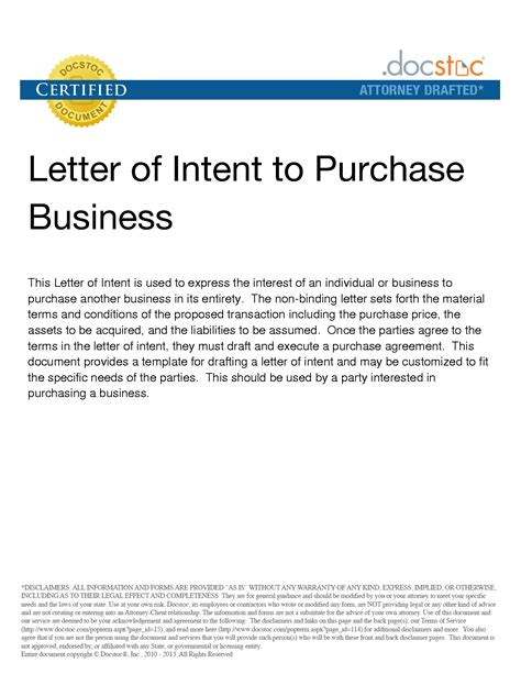 letter of intent to purchase business best letter sle