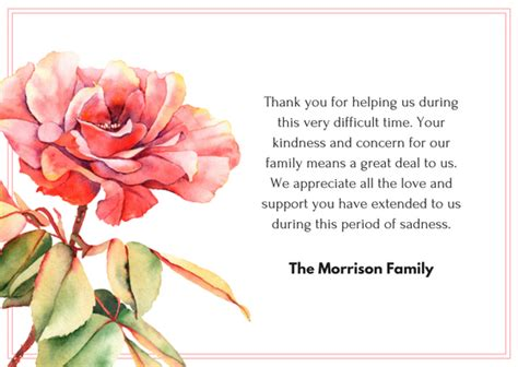 Thank You Letter During Illness bereavement wording for thank you cards