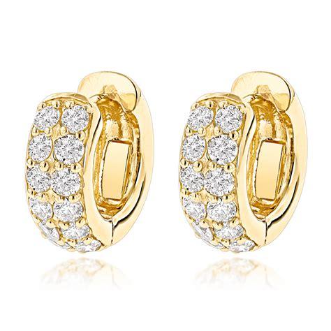 huggie earrings 14k gold huggie earrings hoops 0 62ct