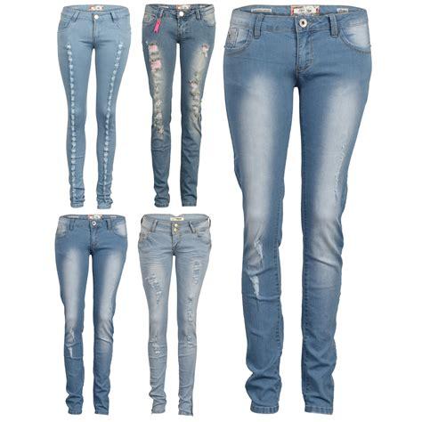 light ripped jeans womens 87y womens light blue denim ladies ripped frayed slim