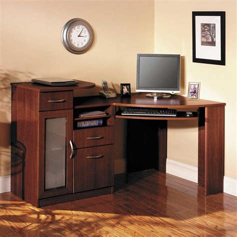 Altra Chadwick Collection Corner Desk Curved Corner Desk Altra Chadwick Collection Corner Desk Virginia Cherry Light Brown Wooden