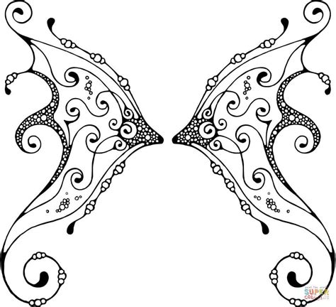 fairy wing with pattern coloring page free printable