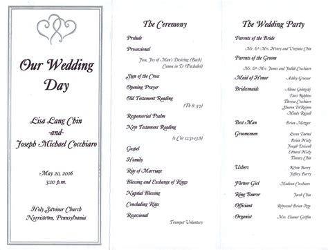 wedding reception program template wedding reception program template