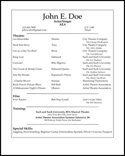 actor resume template free acting resume sles and exles ace your
