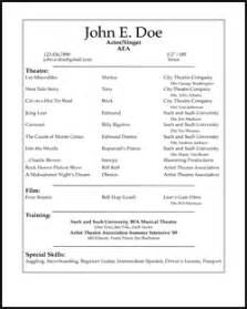 Resume Exles For Actors by Free Acting Resume Sles And Exles Ace Your
