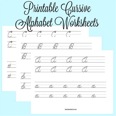 printable worksheets cursive writing cursive alphabet worksheets teach beside me