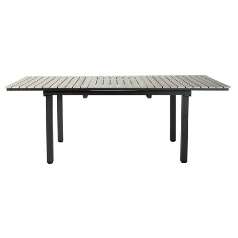 garden table in imitation wood composite and aluminium in