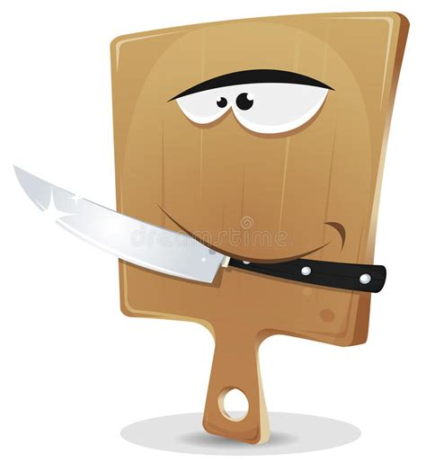 Superior Chopper Kitchen Tool #9: Cutting-board-knife-illustration-funny-cartoon-wood-character-holding-kitchen-his-tooth-34248484.jpg