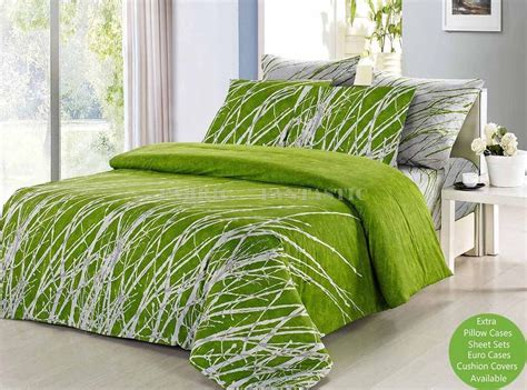green tree king size bed duvet doona quilt cover set
