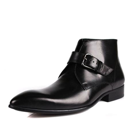 mens black italian leather dress boots cw763338