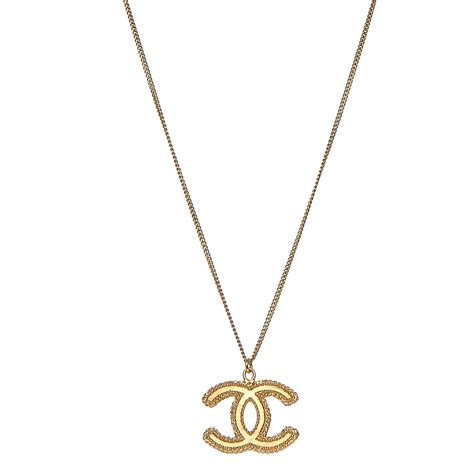 chanel cc pendant necklace gold 205495