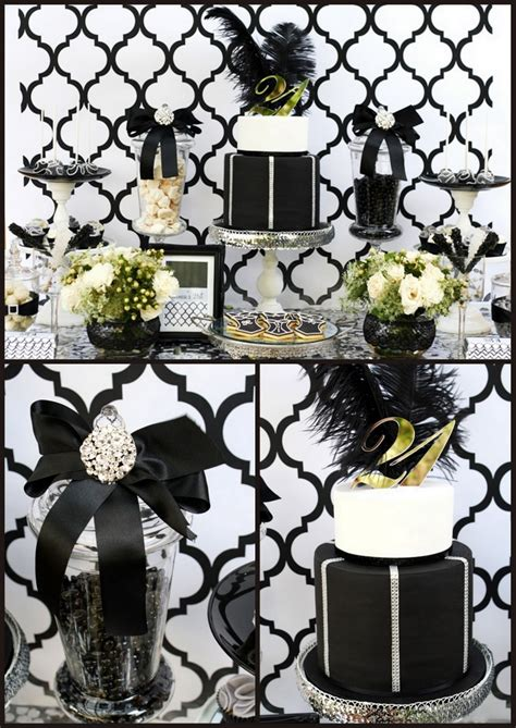 21st black white and silver decor ideas party themes