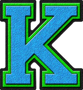College With Letter K Presentation Alphabets Light Blue Green Varsity