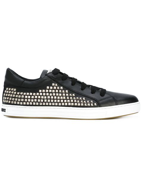 dsquared 178 studded tennis club sneakers in black for lyst