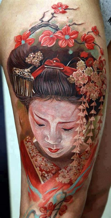 tattoo visage geisha nice detailed watercolor portrait of geisha tattoo