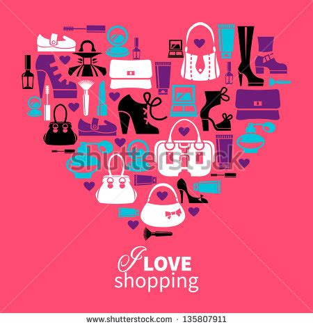 image gallery i love shopping icons shopping love heart with set of vector fashion women s