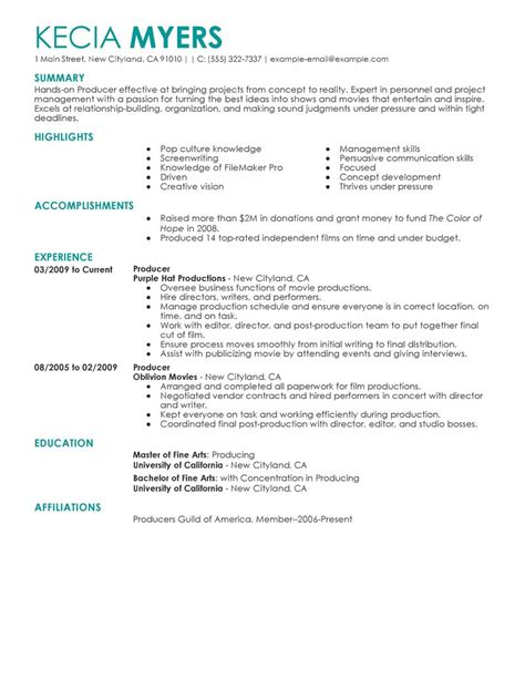 Resume Sles For Entertainment Media Entertainment Resume Exles Media Entertainment Sle Resumes Livecareer