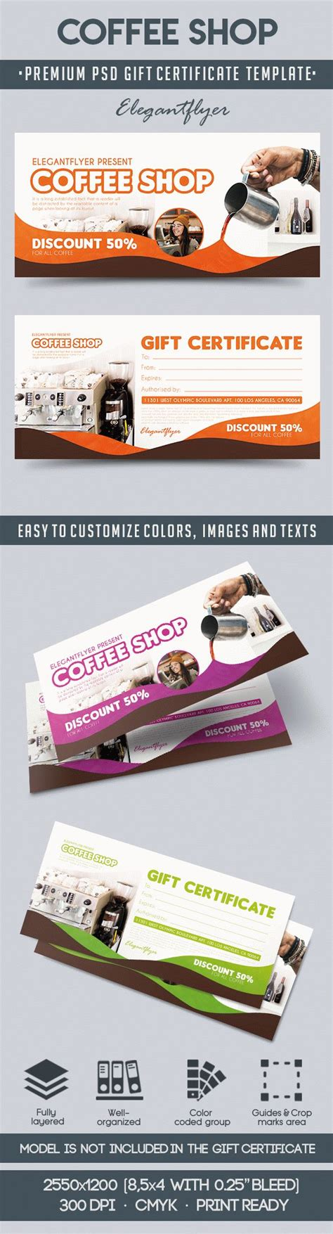 Coffee Shop Premium Gift Certificate Psd Template By Elegantflyer Coffee Shop Gift Certificate Template