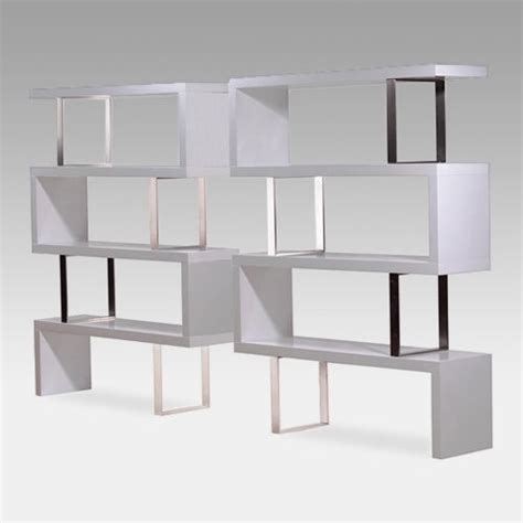 modloft pearl wood bookcase lacquer white contemporary