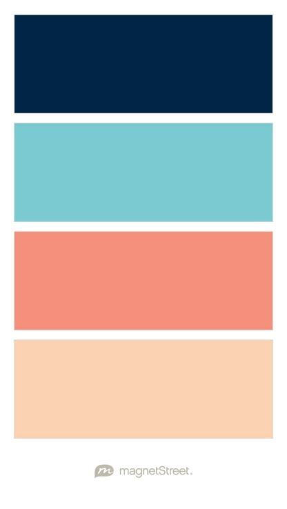 peach color schemes navy turquoise coral and peach wedding color palette