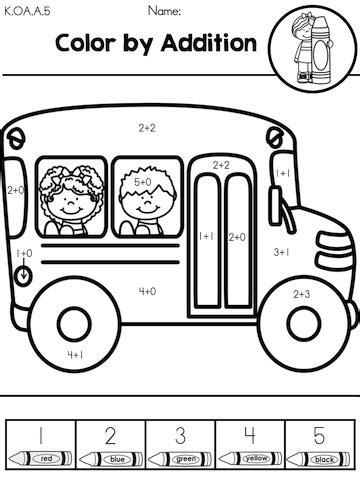 truck color by number coloring pages back to school kindergarten math worksheets kindergarten