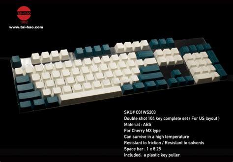 Hao Green Abs Keycap Set 104 key abs keycap set white green