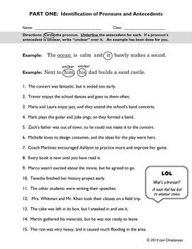 Pronouns And Antecedents Worksheet Answer Key