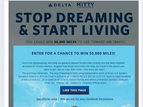 Delta Sweepstakes - delta quot stop dreaming start living quot sweepstakes