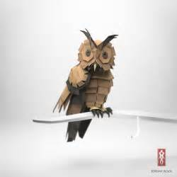 Paper Owl Origami - 3d origami illustrations of animals motley news