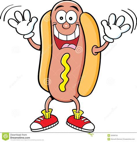 funny hot dog pic cartoon hotdog waving stock vector illustration of