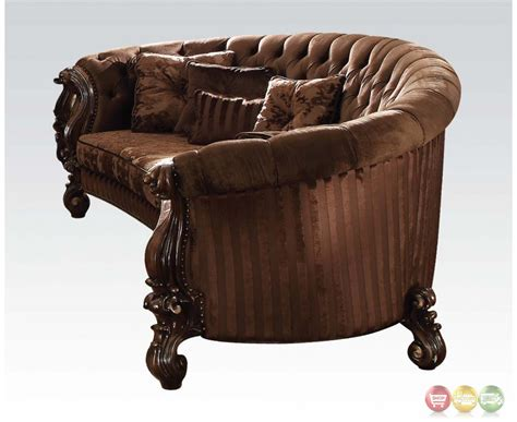 button tufted sofa versailles button tufted brown velvet sofa and chair set