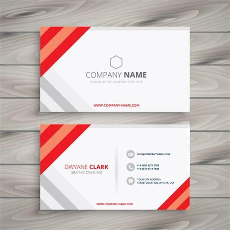 white red business card template vector free download