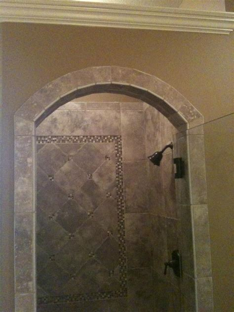 shower design  arched entrance american olean ash