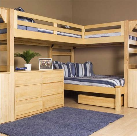 triple bunk bed plans with natural brown wooden frames