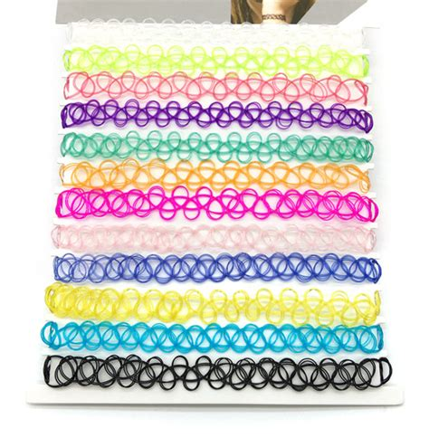 Exclusive Color Of Tatto Choker rainbow chokers necklace mix 12 colors 12 pcs pack vintage stretch quarz elastic