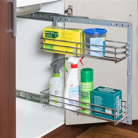 Sink Sliding Shelf Unit by Zone Hardware 2 Tier Wire Basket Sink Unit 150mm