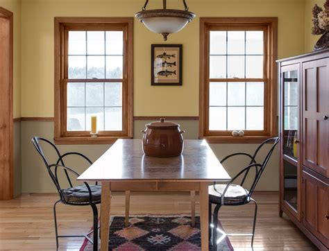 gold and khaki walls divided by a cherry wood chair rail accents of burnt orange blend with the