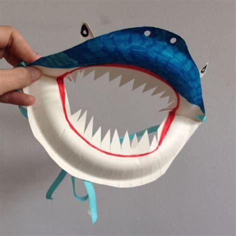 Masks Out Of Paper Plates - paper plate shark mask sharks