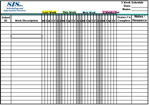 2 week schedule template excel 3 week look ahead schedule
