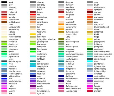 python colors 色名一覧 list of colors compact japaneseclass jp