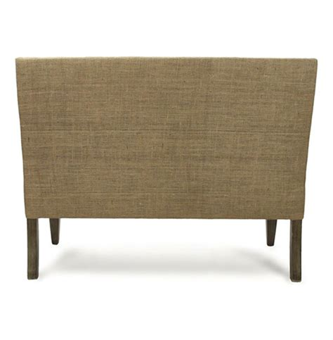 country cottage light linen banquette dining settee
