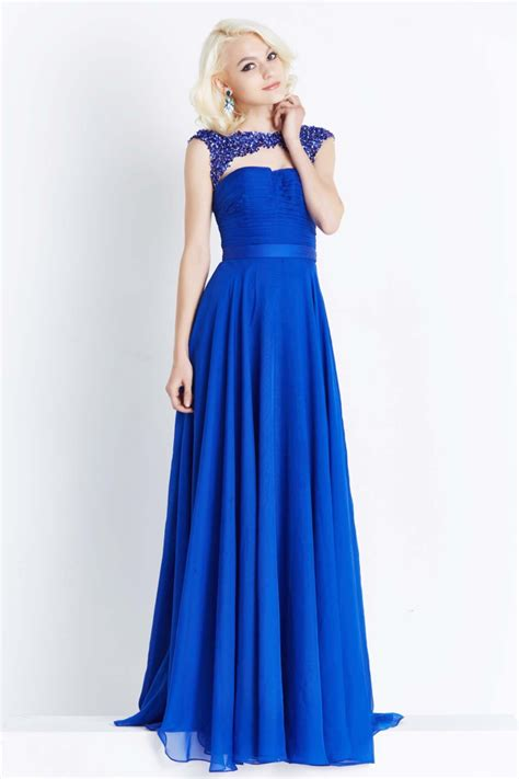 Blue Dress Blue Rsby 1496 cheap cap sleeves beaded chiffon royal blue prom dresses gowns 2016 formal evening dress