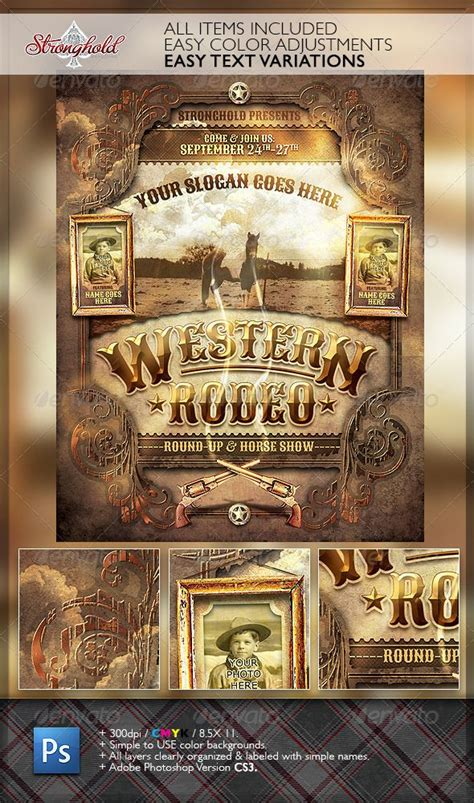free western business card templates west rodeo event flyer template rodeo events event