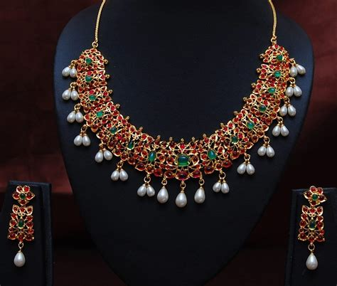 imitation jewellery ruby emerald pearl studded necklace