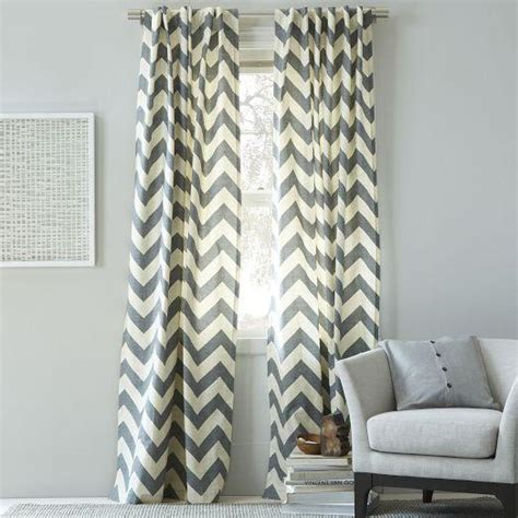 Grey And White Chevron Curtains Cotton Canvas Zigzag Curtain Feather Gray West Elm
