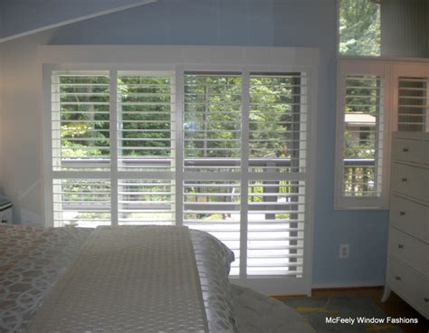 Plantation Shutters For Patio Doors Patio Door Plantation Shutters Severna Park Md Mcfeely Window Fashions Bedroom