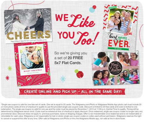 Gift Card At Walgreens - 20 free 5x7 custom flat photo cards walgreens common sense with money