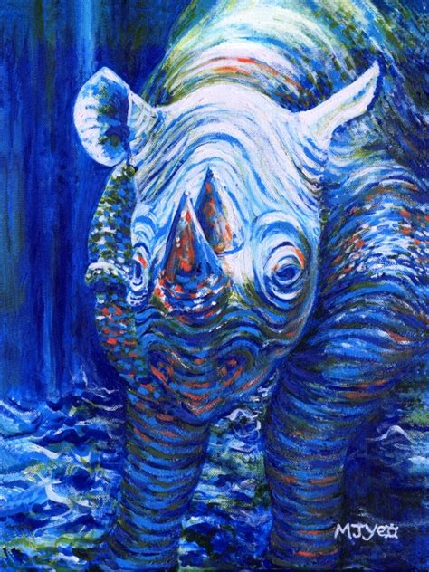 acrylic painting holidays uk original acrylic painting contemporary blue rhino on